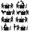 Set of office situation flat icons isolated on white background