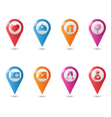 Love location pin mapping marks icons for saint valentine`s day