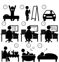 Set of flat situation icons with lazy worker isolated on white b