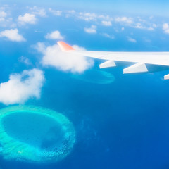 Maldives, view from the heights airplane