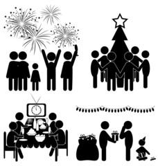 Set of Christmas flat icons isolated on white background