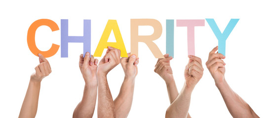 People Hand Showing Text Charity