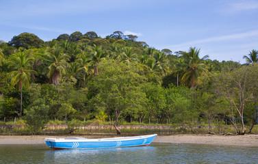 Einsames Fischerboot an der Küste im brasilianischen Urwald