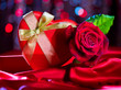 Valentine red heart gift box and red rose