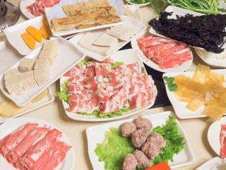 Chinese Hot Pot meet plates.