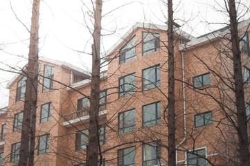 Brick apartment condominiums
