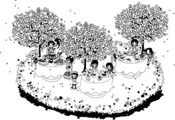 綺麗な桜の下で、色々な食べ物を食べながら、皆でお花見を楽しみましょう。