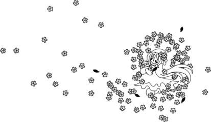 桜の花と共に、華麗に舞う長い髪の少女。