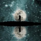 Fototapety Space, moon, lake