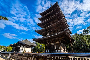 Kofuku-ji wooden tower in Nara, Japan.