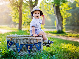 baby on the nature sits  a basket