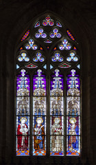 Stained-glass window in Seville cathedral, Spain