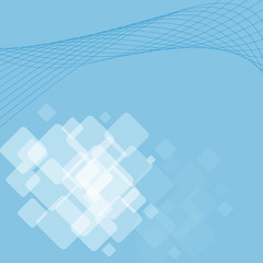 light blue soft background with bright transparent squares and l