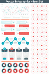 Flat style vector infographics and design elements with icon set