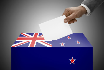 Ballot box painted into national flag colors - New Zealand