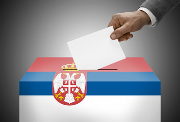 Ballot box painted into national flag colors - Serbia