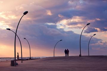 Sunset on the promenade of Tel Aviv
