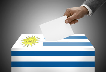 Ballot box painted into national flag colors - Uruguay