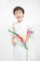 Little boy portrait pretend as cupid with wing