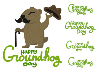 Lettering for Groundhog Day groundhog with a mustache