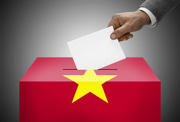 Ballot box painted into national flag colors - Vietnam