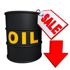 Barrels of oil with tag and green arrow directed to the bottom