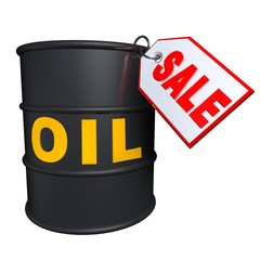 Barrels of oil with tag