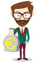 Successful Businessman or banker with a Bag of Gold Cash Euro