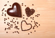 coffee and chocolate hearts
