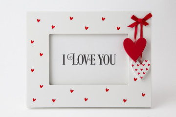 Vintage frame with hearts and text