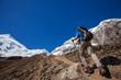 Hiker on the trek in Himalayas, Manaslu region, Nepal
