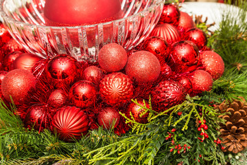Red Christmas Balls and Glass Bowl