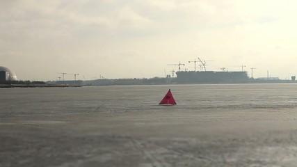 windsurfer ice surfing