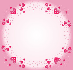 Frame of pink hearts for Valentine's Day