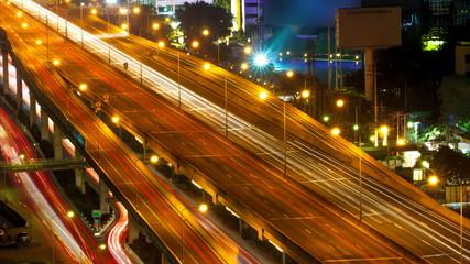 Traffic movement on express way in Bangkok, Thailand