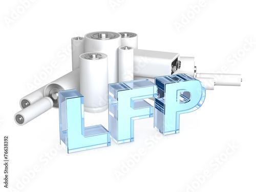 Leinwanddruck Bild LFP (LiFePO4) - Lithium iron phosphate accumulator battery