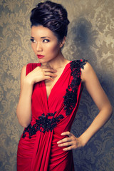 chinese woman in an elegant red dress