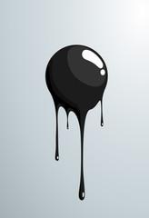 Black ball melting. Vector fresh painted sphere.