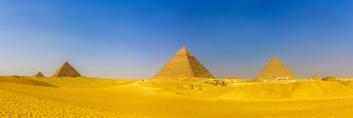 View of pyramids in Giza: Queens' Pyramids, the Pyramid of Menka