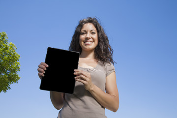 woman showing screen tablet
