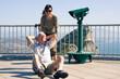 Hilarious senior man tourist on Gibraltar Rock