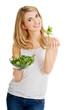 Smiling woman eating salat