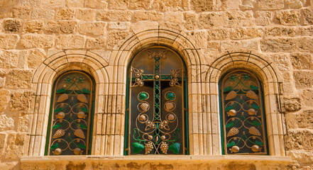 The windows of  temple of the Holy Sepulchre in Jerusalem