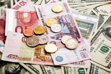 russian rubles, euro and dollars notes