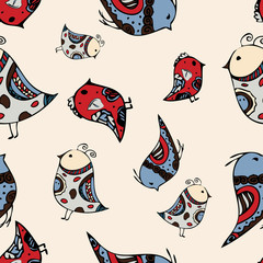 seamless graphic birds pattern