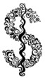 decorative floral dollar sign