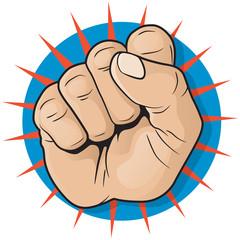 Vintage Pop Art Punching Fist Sign.