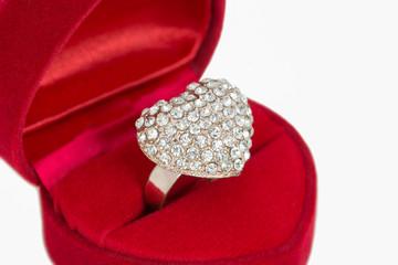 heart love ring in red velvet