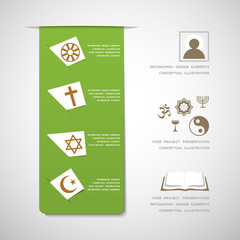 World religions infographic design elements