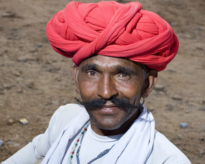 red turban , traditional costume, Rajasthan , rural India